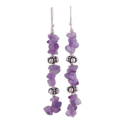 Amethyst dangle earrings, 'Wisteria Garland' - Fair Trade Sterling Silver Beaded Amethyst Earrings