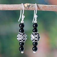 Onyx earrings, 'Black Lotus' - Women's Beaded Onyx Earrings