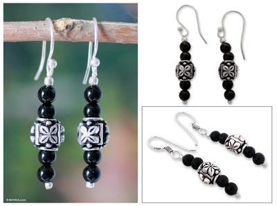 Onyx earrings, 'Black Daffodil' - Women's Beaded Onyx Earrings