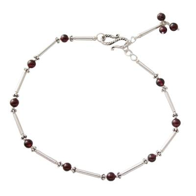 Handmade Red Garnet and Sterling Silver Beaded Anklet