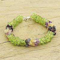 Peridot and amethyst beaded bracelet, 'Formal Garden' - Peridot and amethyst beaded bracelet