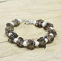 Pearl and smoky quartz beaded bracelet, 'Hazy Moon' - Pearl and smoky quartz beaded bracelet
