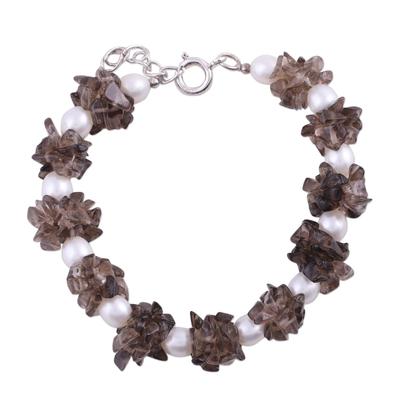 Pearl and smoky quartz beaded bracelet, 'Hazy Moon' - Pearl and smoky quartz beaded bracelet