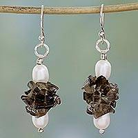 Pearl and smoky quartz earrings, 'Hazy Moon' - Unique Pearl and Smoky Quartz Beaded Earrings