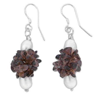Unique Pearl and Smoky Quartz Beaded Earrings