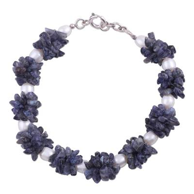 Fair Trade Iolite and Pearl Bracelet