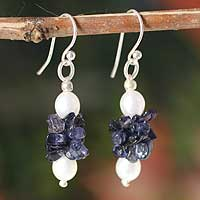 Pearl and iolite earrings, 'Vineyard' - Pearl and iolite earrings