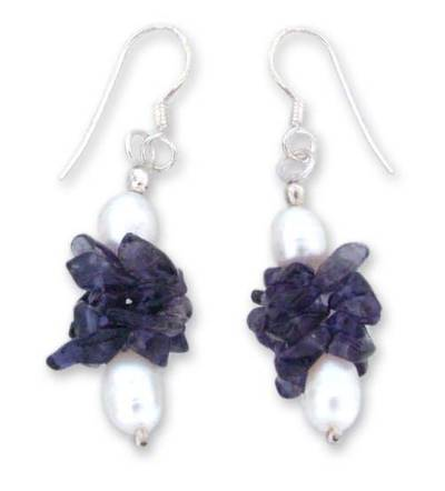 Pearl and iolite earrings