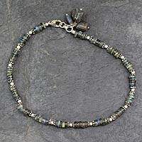 Labradorite anklet, 'Mystical Inspiration' - Fair Trade Sterling and Labradorite Stone Anklet