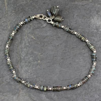 Labradorite anklet, 'Mystical Inspiration' - Labradorite Anklet Sterling Silver Handmade India