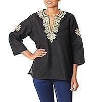 Cotton tunic, 'Mughal Enchantment' - Embroidered Cotton Tunic from India