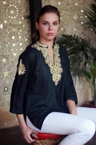 Cotton tunic, 'Mughal Enchantment' - Cotton tunic