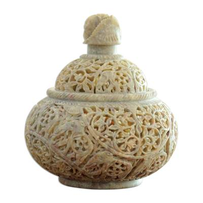 Soapstone jar, 'Elephant Luxuries' - Natural Soapstone Handcarved Jar from India