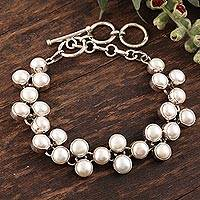 Pearl link bracelet, 'Many Moons' - Handmade Bridal Jewelry Sterling Silver and Pearl Bracelet