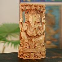 Wood statuette, 'Supreme Ganesha' - Wood statuette
