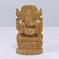 Wood statuette, 'Happy Ganesha' - Wood statuette