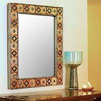 Mirror, 'Autumn Warmth' - Repoussé Copper Mirror India Ceramic Wall Art Handmade