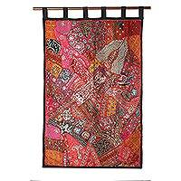 Cotton patchwork wall hanging, 'Autumn Splendor' - Cotton Wall Hanging Gujarati Wall Art Embellised