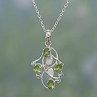 Peridot pendant necklace, 'Ivy' - Fair Trade Peridot Necklace in Sterling Silver from India