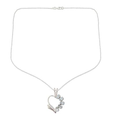 Blue Topaz Heart Necklace
