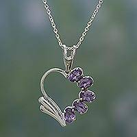 Amethyst heart necklace, 'Winged Heart' - Hand Crafted Amethyst Heart Necklace