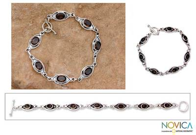 Smoky quartz bracelet, Eye of the Night