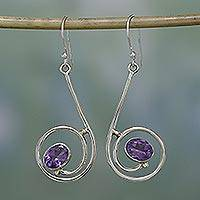 Amethyst dangle earrings, 'Lyric' - Amethyst dangle earrings