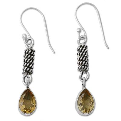 Handcrafted Sterling Silver and Citrine Earrings