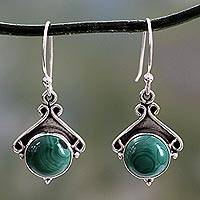 Malachite earrings, 'Forest Charm'