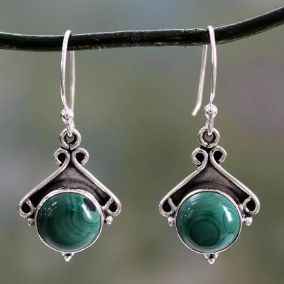 Malachite earrings, 'Forest Charm' - Sterling Silver and Malachite Dangle Earrings