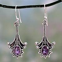 Amethyst chandelier earrings, 'Waltz' - Amethyst chandelier earrings