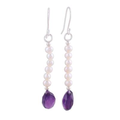 Pearl and amethyst earrings