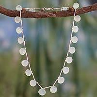 Chalcedony choker, 'Spring Rain' - Women's Beaded Chalcedony and Sterling Silver Necklace