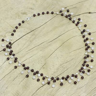 Garnet and moonstone waterfall necklace, 'Fiery Frost' - Garnet and Moonstone Waterfall Necklace