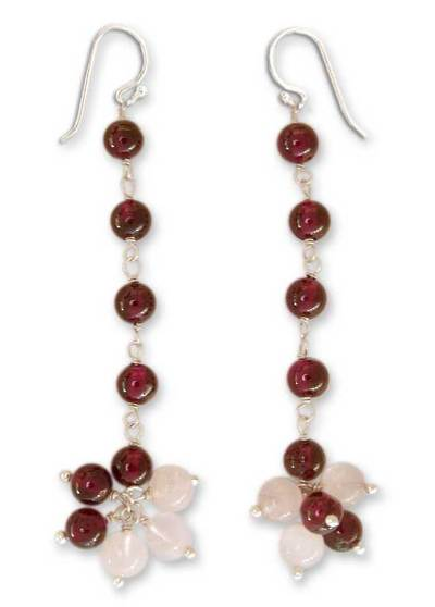 Garnet and Moonstone Sterling Silver Earrings from India
