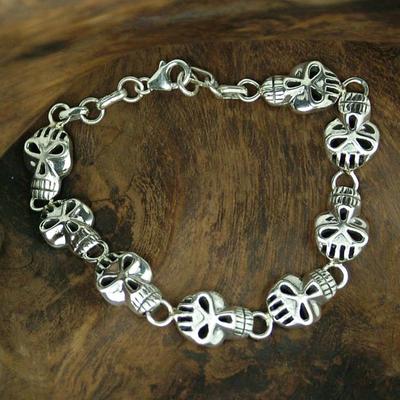 Men's sterling silver bracelet, 'Deadly Smile' - Bracelet for Men in Sterling Silver Jewelry