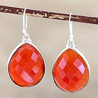 Sterling silver dangle earrings, 'Ember Glow'