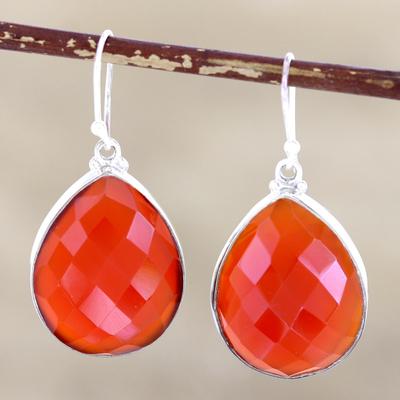 Sterling silver dangle earrings, 'Ember Glow' - Sterling silver dangle earrings