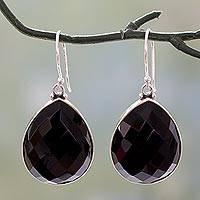 Onyx dangle earrings, 'Night Glow' - Sterling Silver and Onyx Earrings