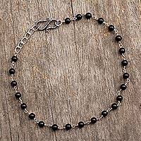 Onyx anklet, 'Black and White' - Onyx Indian Anklet Artisan Crafted in Sterling Silver