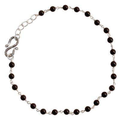 Onyx Indian Anklet Artisan Crafted in Sterling Silver