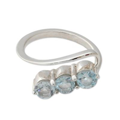 Handcrafted Blue Topaz Three-Stone Silver Ring