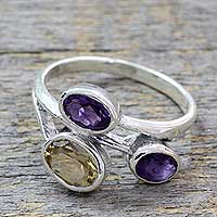Amethyst and citrine 3-stone ring, 'Mystical Alliance' - Amethyst and Citrine 3 Stone Sterling Silver Ring from India
