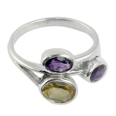 Amethyst and Citrine 3 Stone Sterling Silver Ring from India
