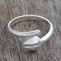 Sterling silver heart wrap ring, 'Autumn Promises' - Heavy Sterling Silver Leaf Wrap Ring from India