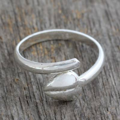 Sterling silver heart wrap ring, 'Autumn Promises' - Sterling Silver Wrap Ring