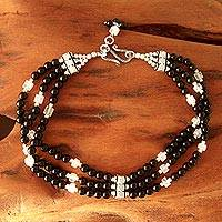 Onyx and moonstone anklet, 'Goddess Moon' - Unique Onyx and Moonstone Beaded Anklet