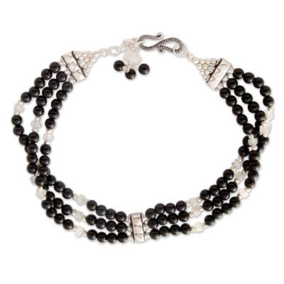 Unique Onyx and Moonstone Beaded Anklet