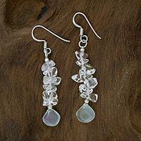 Quartz and chalcedony earrings, 'Icicles' - Hand Crafted Quartz and Chalcedony Earrings from India