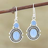 Chalcedony dangle earrings, 'Ocean Mystique'